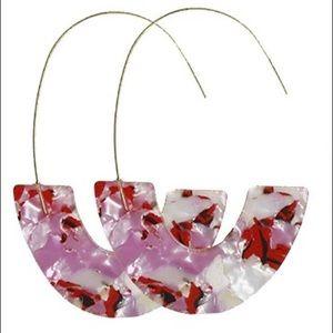Jewelry - Multicolored acrylic long loop earrings